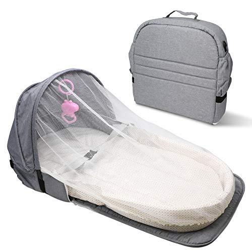 ZEHNHASE lettino da viaggio per neonati, Cestino letto portatile per neonati con design anti-rollio, zanzariera e giocattolo inclusi - Grigio