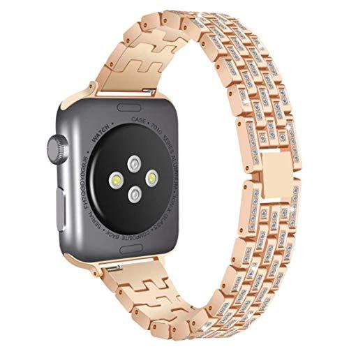 Weekendy Luxus-Legierung mit Kristall-Diamant-Verbindungs-Armband-Uhrenarmband-justierbarem Handgelenk-Bügel-Ersatz-Armband für Apple-Uhr Series1 / 2/3 38MM / 42MM ( Farbe : Rose Gold , Größe : 38MM )