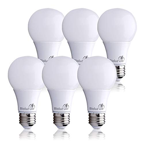 Bioluz LED 40 Watt LED Light Bulbs, E26 40 Watt Light Bulb Replacement, A19 LED Bulb Uses Only 6 Watts, Warm White 2700K Non-Dimmable A19 LED Light Bulbs 6-Pack
