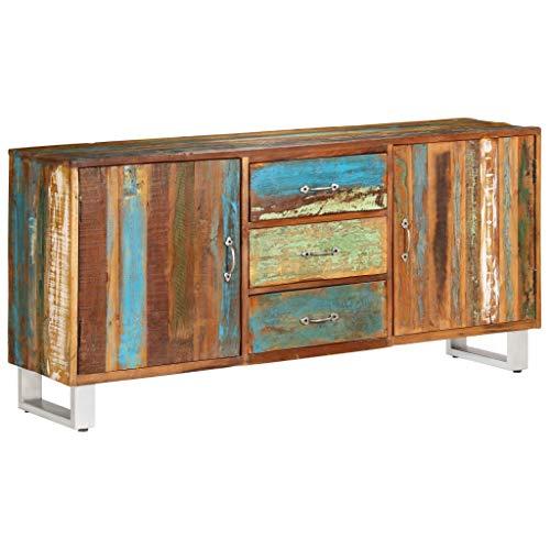 Festnight Sideboard | Vintage Kommode | Retro Beistellschrank | Holz Schubkastenkommode | mit 3 Schubladen und 2 Türen | Massiv Altholz mit Stahlbeine 160 x 40 x 76 cm