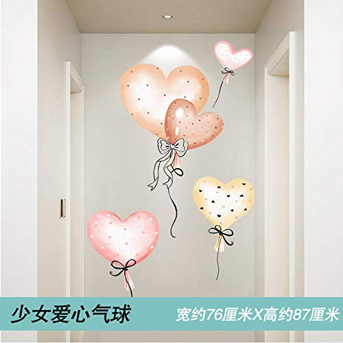 Cartoon door stickers 3d three-dimensional wall stickers children's bedroom animal wall stickers wallpaper self-adhesive-15. Girl love balloon_Extra large
