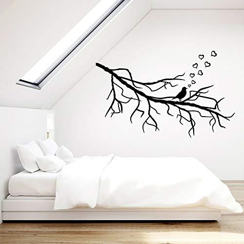 Tianpengyuanshuai Ornithologie hartvormige muursticker slaapkamer liefde romantische vinyl wandtattoo woonkamer decoratie kunst leeskamer decoratie