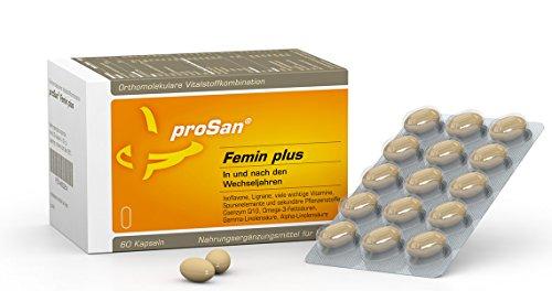 proSan® Femin plus für die Wechseljahre – pflanzlich & hormonfrei durch die Menopause - 60 Kapseln - Isoflavone, Lignane, Vitamine, Mineralien, Carotinoide, Coenzym Q10, Omega-3, Nachtkerzenöl, Leinöl