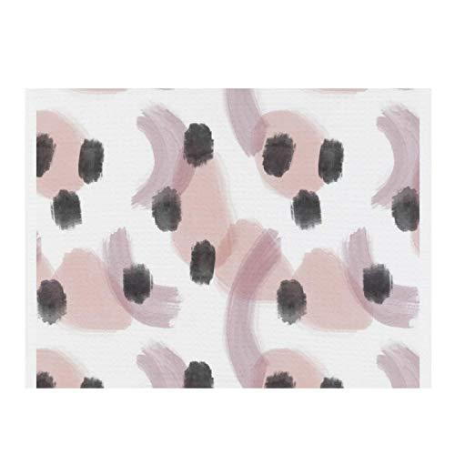 Abstrakte stilvolle moderne Geschirrabtropfmatte aus Mikrofaser, mit schwarzen Punkten, hellbraun, rosa, weiß, für die Küche, 40 x 29 cm