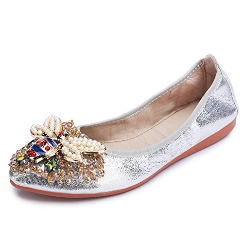 Stylein Womens Foldable Rhinestone Flats Ballet Bling Slip On Loafers Silver