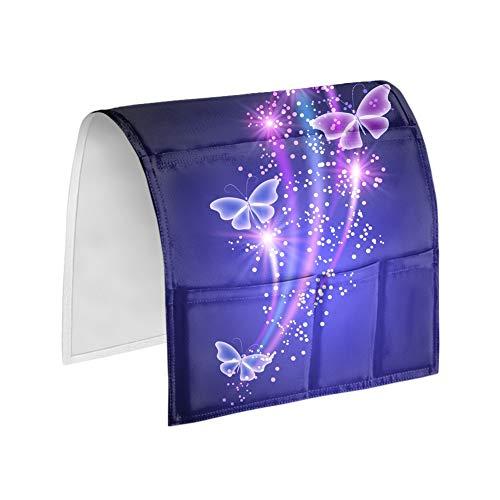 UOIMAG Organizador para colgar en la mesita de noche con diseño de mariposas, para guardar reposabrazos y revistas y libros con mando a distancia
