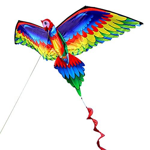 HANGHANG Drachen für Kinder für Erwachsene, 3D-Papageien-Drachen, einreihig, fliegender Vogel mit Schwanzgriff, Drachen & fliegende Spielzeuge, Drachen für Kinder, Lenkdrachen für Outdoor