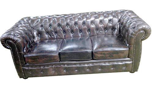 JVmoebel Chesterfield Sofa 3 SITZER LEDERSOFA Couch Polster GARNITUR TROBAY NEU