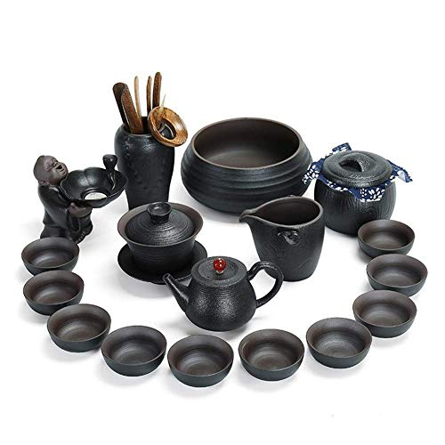 FACAIA Juego De Té Celadon Pottery Ceramic Household Porta Piece Juego De Té Juego De Regalo Big (Color: Black