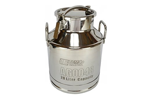 TEMCo 20 Liter 525 Gallon Stainless Steel Milk Can Wine Pail Bucket Tote Jug - AG0048