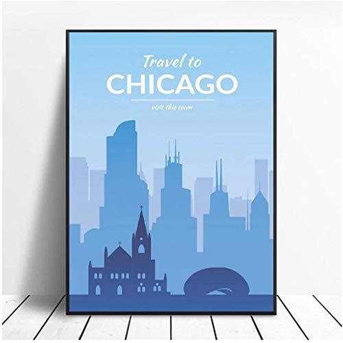 Póster artístico de viaje en lienzo de Chicago, imágenes impresas en lienzo para sala de estar, decoración del dormitorio, decoración del hogar, regalo único -60x90cm sin marco