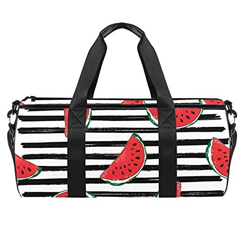 Bolsa de gimnasia con rayas blancas y negras para hombres y mujeres, bolsa de viaje con bolsillo impermeable