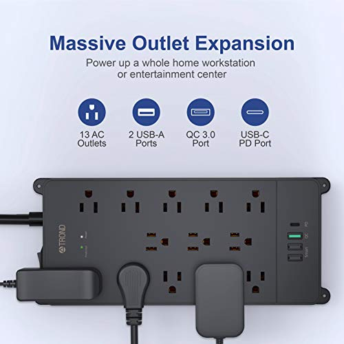 TROND USB C Power Strip Surge Protector, 13AC Widely-Spaced Outlets Expansion with 4 USB Ports, 18W Quick Charge 3.0 & USB C Power Delivery, 4000 Joules, Flat Plug, 5ft Long Extension Cord, Wall Mount 5