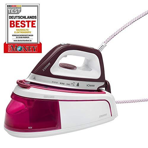 Bomann DBS 6034 CB Dampfbügelstation, Superglide-Keramiksohle, 3,5 bar Dampfdruck, Elektronisches Anti-Tropf-System, Extra langes Kabel, 2300W, weiß-Flieder