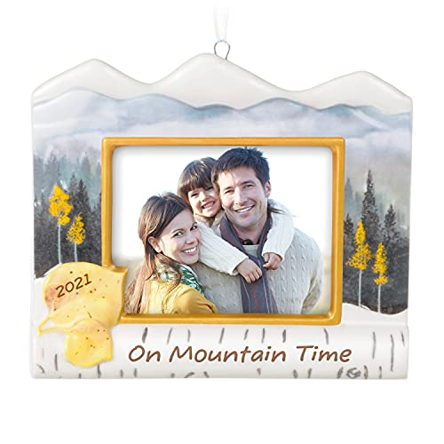 Hallmark Keepsake Christmas Ornament 2021 Year-Dated, On Mountain Time Photo Frame, Porcelain