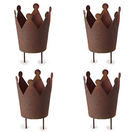 4 STÜCK Windlichtstecker KRONE rost braun Naturdeko Teelichthalter zum stecken 13cm lang Metall...