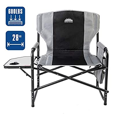 """Coastrail Outdoor Oversized Director Chair 600lbs, 28"""" Wide, XXL Full Back Padded Camp Chair with Table & Storage, Heavy Duty for Camping, Patio, Lawn"""
