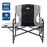 Coastrail Outdoor Oversized Director Chair 600lbs, 28' Wide, XXL Full Back Padded Camp Chair with Table & Storage, Heavy Duty for Camping, Patio, Lawn