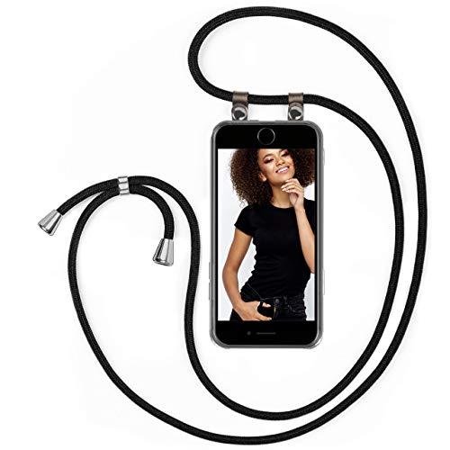 moex Handykette kompatibel mit iPhone 7 / iPhone 8 - Silikon Hülle mit Band - Handyhülle zum Umhängen - Hülle Transparent mit Schnur - Schutzhülle mit Kordel, Wechselbar in Schwarz
