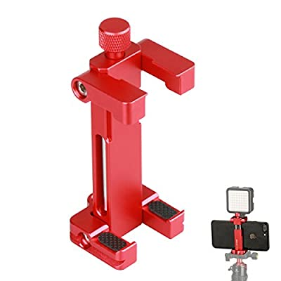 Ulanzi Metal Phone Tripod Mount w Cold Shoe Mount 1/4 inch Screw Adapter, iPhone Clip Holder Compatible iPhone X 8 7 6 Plus Used on Microphone, Video Light, Tripod Monopod etc ST-03 (Black)