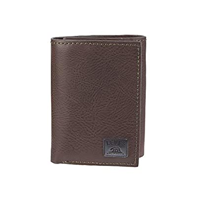 Levi's Men's Leather Trifold-Skinny Wallet with RFID Security, Brown/Olive, One Size