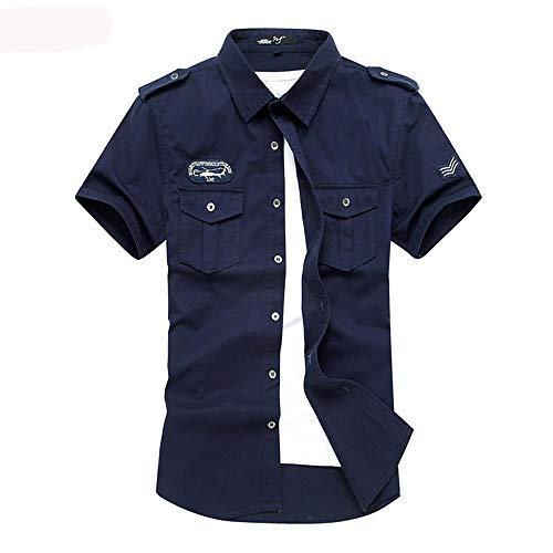 Camisas,Air Force One Summer Camisa De Manga Corta para Hombres Camisa De Uniforme Militar para Hombres, Azul Real, M