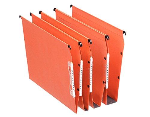 Esselte Dossier Suspendu Dual, pour armoires, Fond V, A4, Lot de 25, Onglets inclus, Orange, 21627