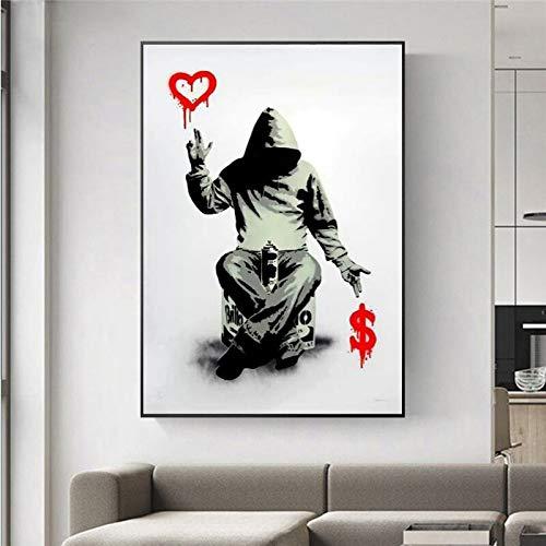 wZUN Banksy Graffiti Abstracto Arte Lienzo Pintura Arte Callejero Pared Carteles e Impresiones Hombres Graffiti imágenes para decoración del hogar 60x90 Sin Marco