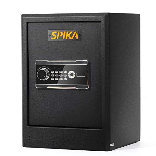 SPIKA Home Security Safe Box Large Capacity with Digital Keyboard Fingerprint Lock Keyhole Office Safe Box,Cash Documents Storage Gun Protection-2 Cubic Feet, Black