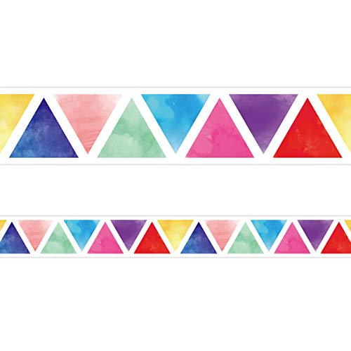 Watercolor Triangle Bulletin Board Straight Border Trimmer for Classroom 36ft One Roll