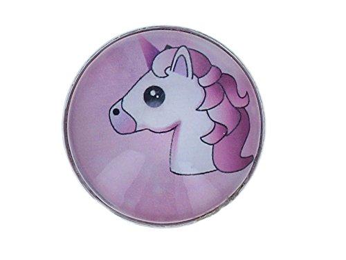 Needful Thinx Damen Schmuck Brosche mit Strass z.B. für Schal Tücher Poncho Magnetbrosche MBR (Einhorn pink halbrund)