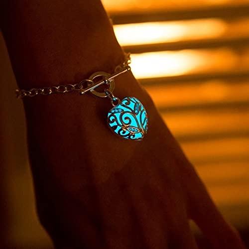 menghui Pulsera turquesa con forma de corazón que brilla en la oscuridad, pulsera de cadena Aqua que brilla intensamente, joyería de la amistad, pulseras de la fase lunar (color del metal: azul)