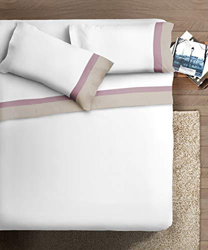 Ipersan Completo letto con DOPPIA BALZA RASO di Cotone 2 piazze Bordo RASO Panna/Malva fondo Bianco