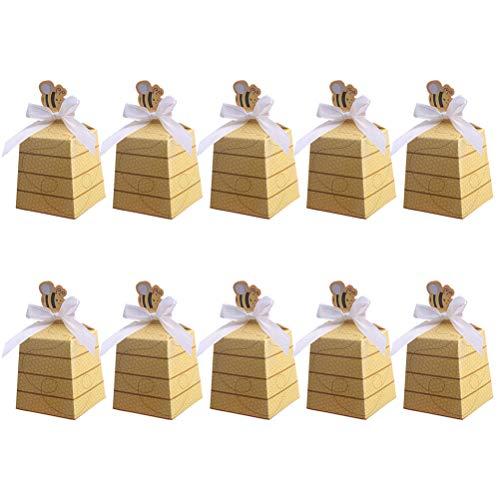 Amosfun 25 Stück Süßigkeitskästen kleine Biene Bowknot gefallen Boxen Süßigkeit Geschenkboxen für Babyparty Geburtstag Dekorationen