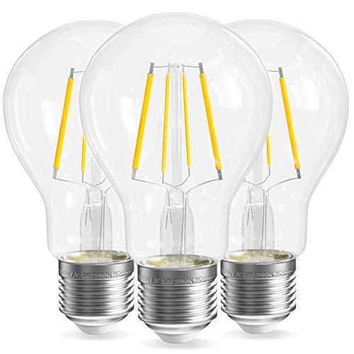 QNINE LED Filament E27, ersetzt Glühbirne 40W, 5W Leuchtmittel Warmweiß(2700K), 3 Stück, 500LM, Retro Klarglas, Nicht Dimmbar, 60mm Edison Lampen, 220-240V [Energieklasse A+]