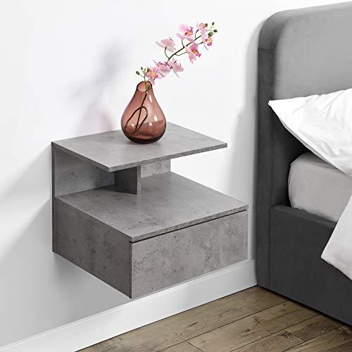 [en.casa] Wandschrank mit Schublade in Beton-Optik Wandnachttisch 40x35x31cm Nachttisch Hängeschrank Wandregal Ablage Schweberegal Schubladenregal