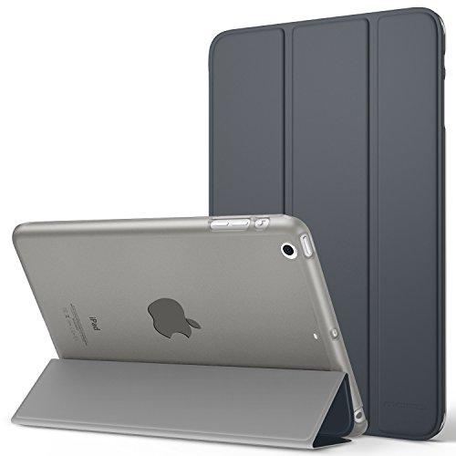 MoKo Funda para iPad Mini 3/2 / 1 - Lightweight Función de Soporte Protectora Plegable Smart Cover Trasera Transparente Durable (Auto Sueño/Estela) - Gris Espacial