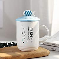 漫画の魚セラミックカップふたとスプーン400MLCとクリエイティブミルクコーヒーマグ