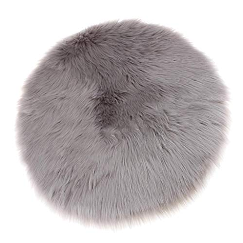 Sharplace Tapis Artificiel en Peau de Mouton Fausse Fourrure Conception Écologique Carpette Coussin de Siège - Gris
