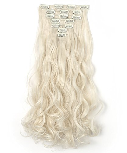 """OneDor 20"""" Curly Full Head Clip in Synthetic Hair Extensions 7pcs 140g (60#-Platinum Blonde)"""