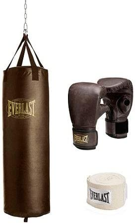 Everlast 100 Lb Vintage New life Rapid rise Punching Bag Heavy Kit