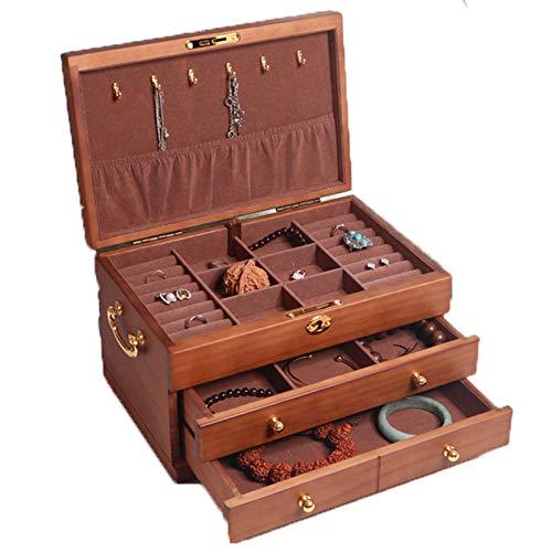 Caja Joyero Organizador Estuche de Joyas, Organizador de caja de joyería de madera de 3 niveles de 3 niveles con cajones extraíbles, 3 capas de joyería bloqueable Pantalla de pantalla Showcase Joyería