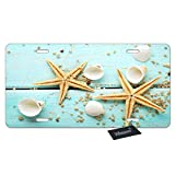 WONDERTIFY License Plate Starfish Shell Blue Wood on Beach Scenery...