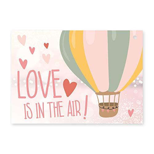 50 Luftballon-Karten Love is in the air I dv_372 I DIN A6 I Set rosa Ballon-Flugkarten zur Hochzeit I gelocht, extra leicht I Gutschein-Vorlage