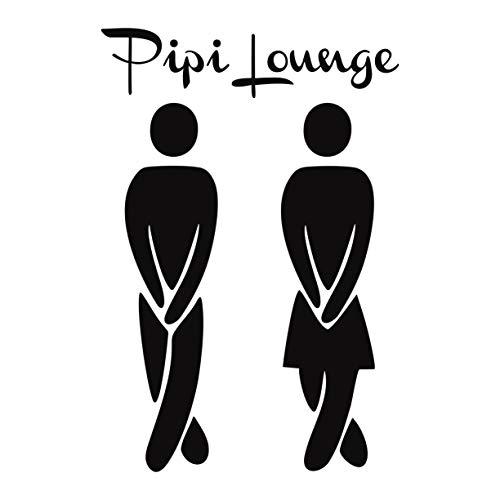 Folistick PIPI Lounge WC Aufkleber Türaufkleber Bad Flur Toilette Aufkleber (SCHWARZMATT)
