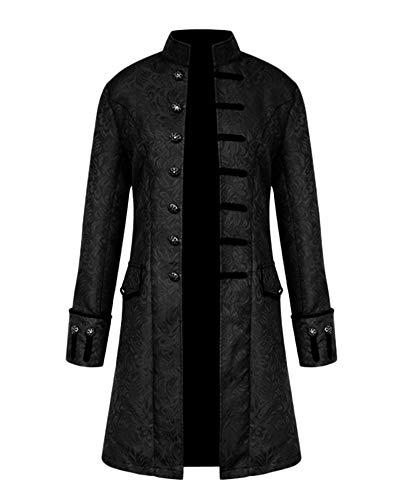 GladiolusA Chaqueta Gotica Steampunk Hombres Traje Vestido Victoriano Uniforme De Chaquetas Abrigo Negro XL