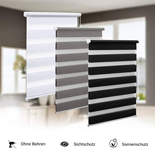 Eurohome Doppelrollo Klemmfix ohne Bohren, Duo Rollo,100cm x 150cm (Stoffbreite 96 cm) weiß Transparentes und undurchsichtiges Sichtschutz Rollo mit Klemmträgern für Fenster