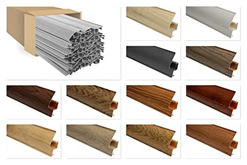 LEMAL Sockelleisten Sparpaket, PVC 65x23mm - Fußleisten mit Kabelkanal - (20 Meter 0107 grau) Abschluss Leisten Teppichboden