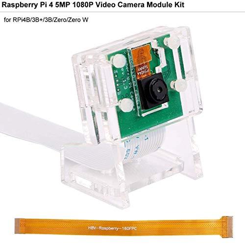 MakerHawk Cámara Raspberry-Pi 5 megapíxeles 1080p / 30fps Módulo de Video de Mini cámara de 5 Grados y 5MP con Soporte acrílico y Cable Flexible FFC para Raspberry Pi 4B / 3B + / 3B / Zero/Zero W