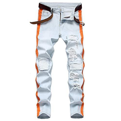 Vaqueros para Hombre Jeans Jeans Hombres Ropa Vintage Hip Hop Streetwear Angustiado Blanco Efecto De Bigote Medio Casual Pantalones De Alta Moda 38 Azul